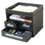 decorative black desk corner organizer with drawers
