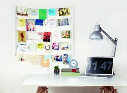 hanging photo organizer in cubicle