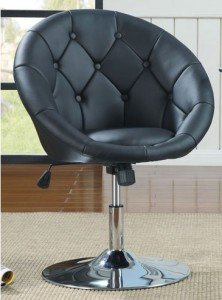 round back swivel chair in black