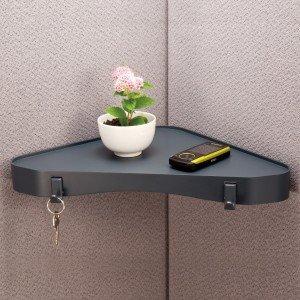 corner shelf installed in cubicle