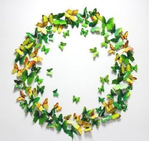 green and yellow butterfly wall decal stickers