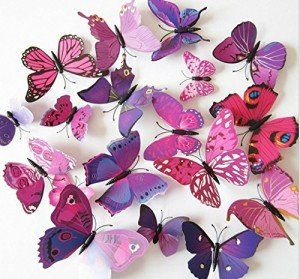 pink and purple butterfly wall decal stickers