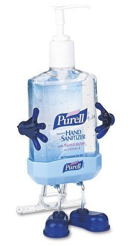 desktop hand sanitizer dispenser with arms and legs