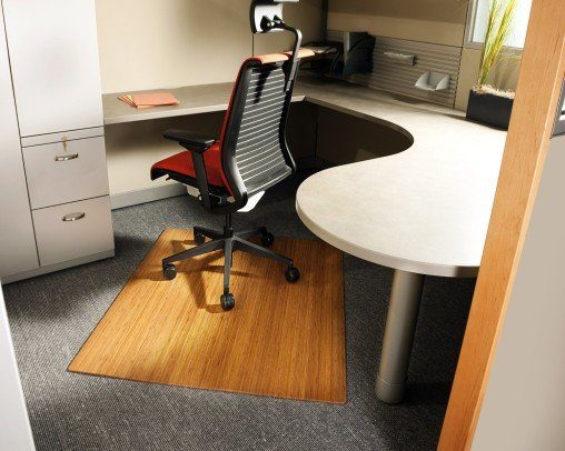 bamboo chair mat in cubicle
