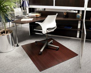 cherry bamboo mat in cubicle
