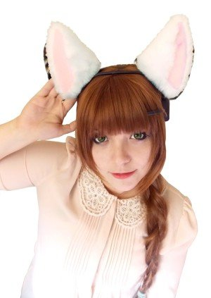 pretty girl wearing necomimi headset