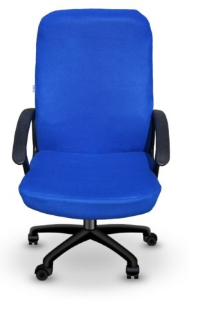 solid blue office chair cover