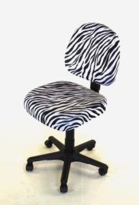 black and white zebra print two piece chair cover
