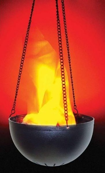 artificial hanging flame in use