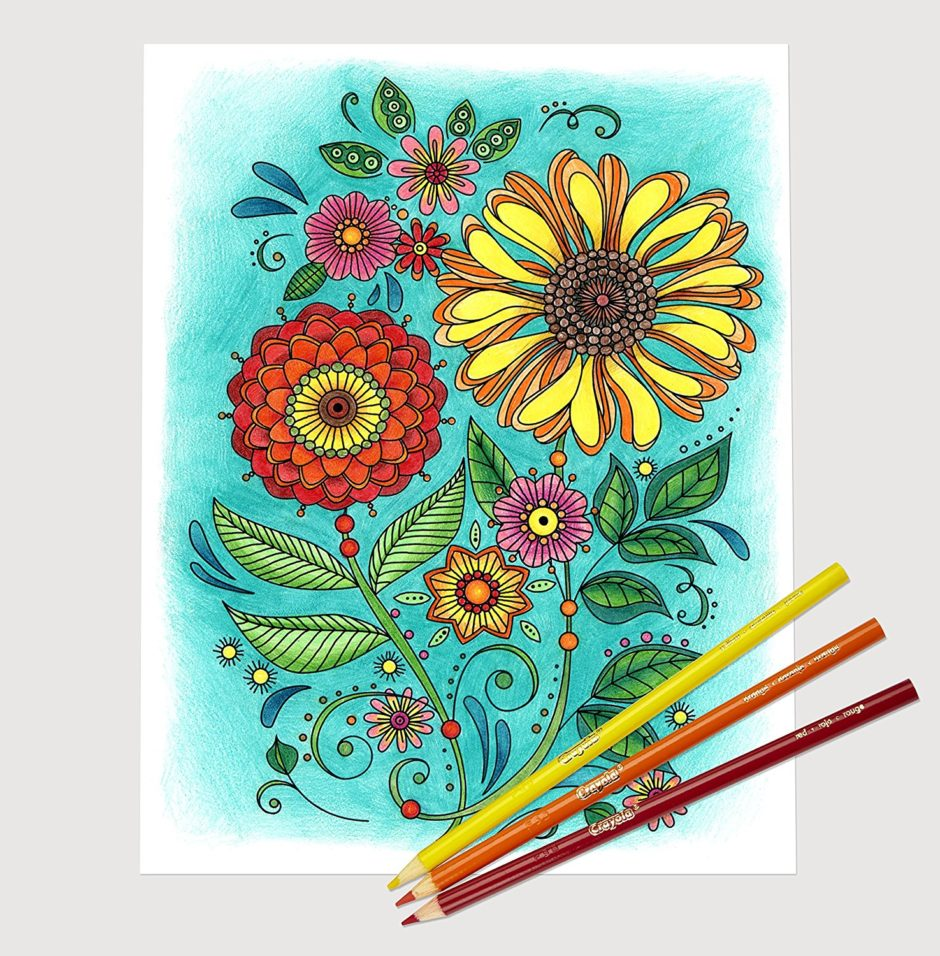 Colorful Flowers Adult Coloring Book