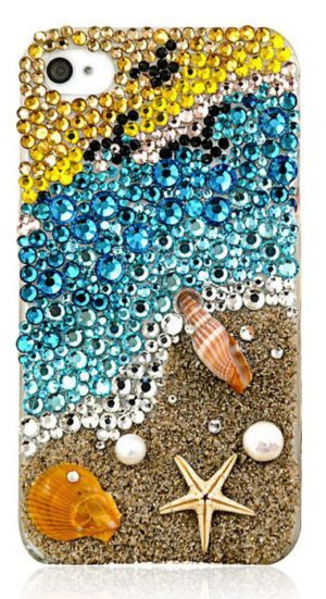 cell phone case decorated with rhinestones - beach scene