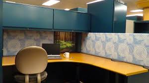 cubicle with floral design wallpaper