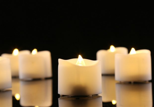 realistic flameless candle closeup