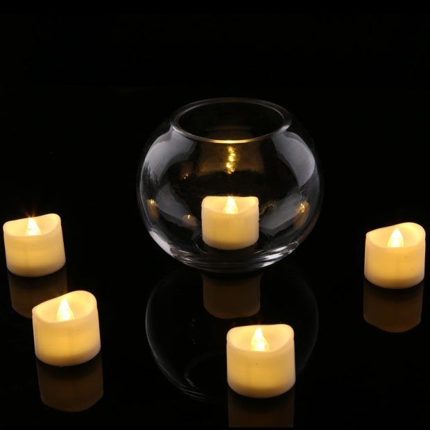 realistic flameless candle in glass bulb