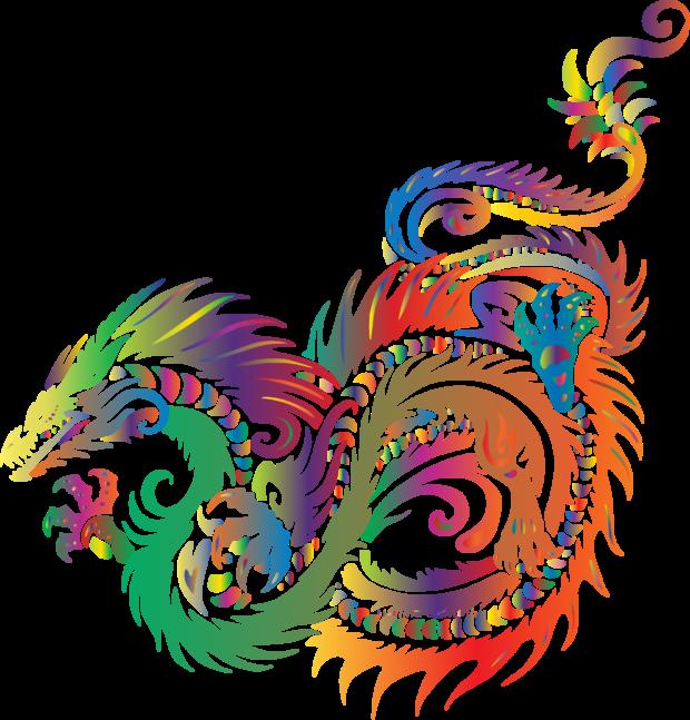 colored prismatic dragon vector clipart